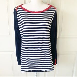 Susan Graver Striped Top Long Sleeves Gold Buttons